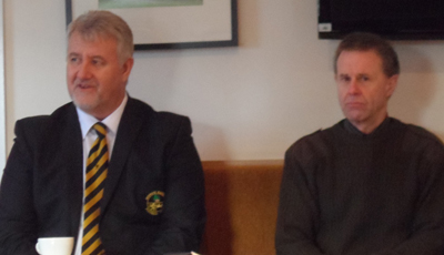 Club Chairman Brian Porteous (left) with Trust Chairman Michael Smyth (right)