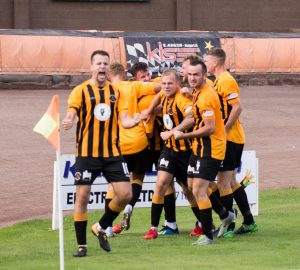 Ross Brown celebrates goal vs. Stirling
